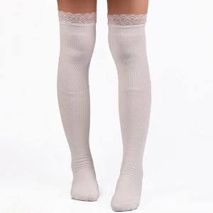 Casual Lace Edge Knit Stockings - White - One Size