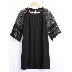 Hollow Out Lace Sleeves Loose Dress - Black - Xl