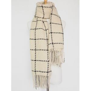 Tasseled Plaid Knitted Scarf - Off-white