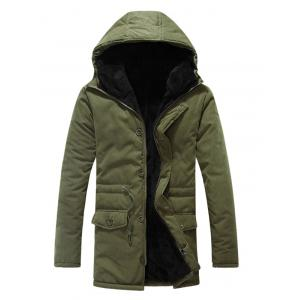 Drawstring Zipper Button Hooded Padded Coat - Army Green - 2xl