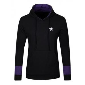Kangaroo Pocket Star Embroidered Drawstring Pullover Hoodie