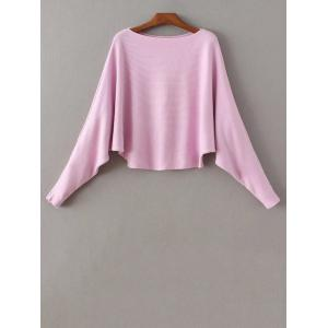 Bat-Wing Sleeve Loose Sweater - Purple - One Size
