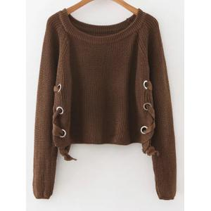 Lace-Up Casual Sweater