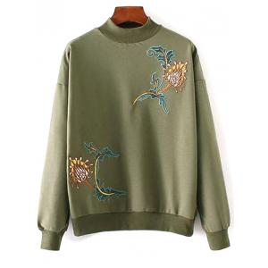 Embroidered High Neck Sweatshirt - Army Green - One Size