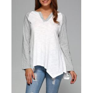 Raglan Sleeve Asymmetrical T-Shirt - Grey And White - M