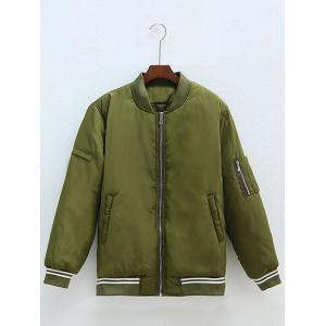 Plus Size Zipped Back Letter Bomber Jacket - Army Green - Xl