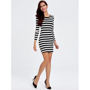 Low Cut Striped Mini Convertible Bodycon Dress -