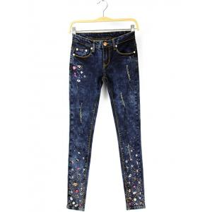 Frayed Beaded Pencil Denim Pants -