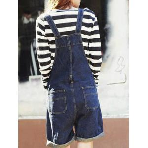 Topstitching Back Pocket Denim Overall Shorts -