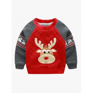 Elk Print Color Block Christmas Sweatshirt - Red - 100