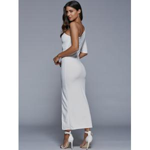One-Shoulder Slit Fitted Maxi Formal Dress - WHITE ONE SIZE