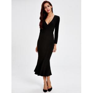 Long Sleeve Fitted Mermaid Midi Prom Dress - BLACK M