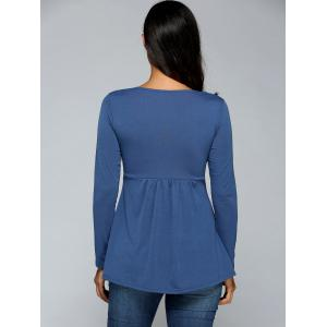 Square Neck Ruched Long Sleeve T-Shirt - BLUE XL