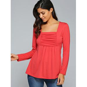 Square Neck Ruched Long Sleeve T-Shirt -