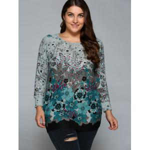 Loose-Fitting Casual Floral Print T-Shirt -