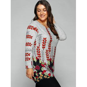 Casual Round Neck Floral Print T-Shirt -