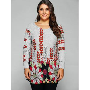 Round Neck Floral Print T-Shirt - GRAY ONE SIZE