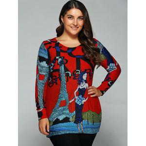 Loose-Fitting Character Print T-Shirt - RED ONE SIZE