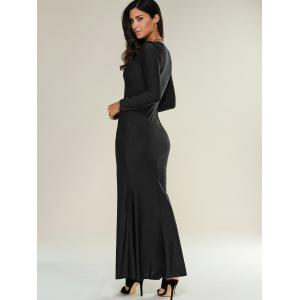 Lace Up Maxi Slit Formal Party Prom Dress with Long Sleeves - BLACK M