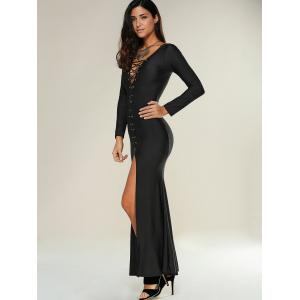 Lace Up Maxi Slit Formal Party Prom Dress with Long Sleeves -