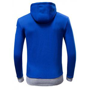 Letter Print Drawstring Pullover Hoodie - BLUE L