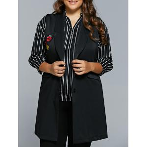 Lip Applique Long Waistcoat - Black - 3xl