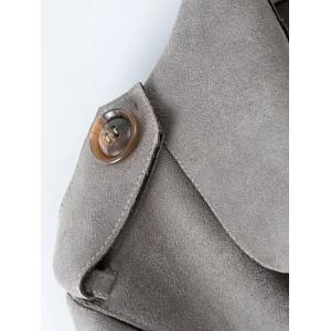 Faux Suede Fitting Belted Wrap Trench Coat - KHAKI L