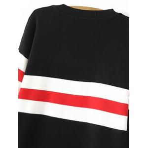 Crew Neck Striped Long Sweater - BLACK ONE SIZE