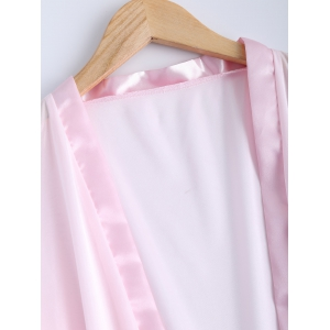 Transparent Belted Lace Panel Sleepwear - PINK XL