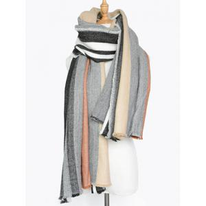 Winter Vertical Stripe Pattern Fringed Knit Scarf -