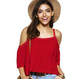 Trendy Spaghetti Strap Solid Color Blouse ample -
