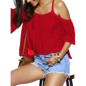 Trendy Spaghetti Strap Solid Color Loose Fitting Blouse - RED XL