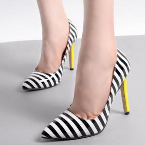 Color Block Striped Pattern Patent Leather Pumps - WHITE AND BLACK 38