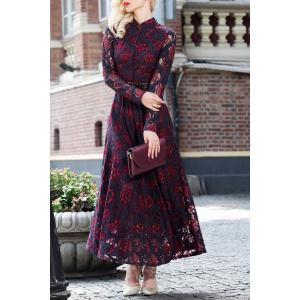 Long Sleeve Lace Maxi Prom Dress - Wine Red - L