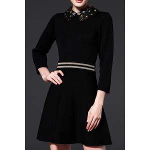 Beaded Flat Collar A Line Knitted Dress - Black - M