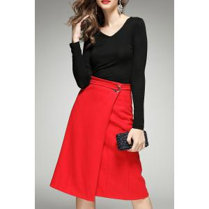 Long Sleeve Tee and Wrap Skirt - Black - L