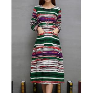 Colorful Long Striped Print Double Pockets A-Line Dress - GREEN 2XL