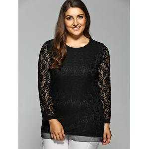Plus Size Long Sleeve Lace Tee - BLACK 5XL