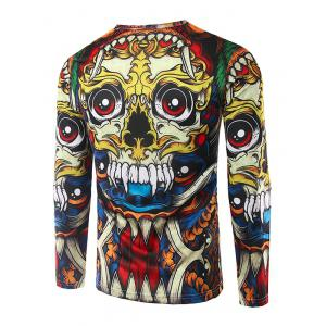 Round Neck Long Sleeves 3D Totem Print T-Shirt - COLORMIX 2XL