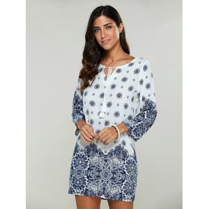 Casual Tribal Print Bohemian Short Shift Dress - WHITE S