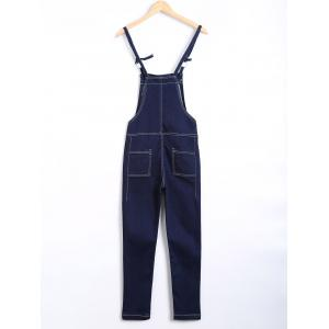Topstitching Back Pocket Eyelet Overall Pants -