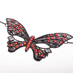 Gothic Style Faux Ruby Butterfly Lace Party Mask -
