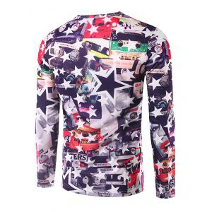 Casual Long Sleeves Stars 3D Print T-Shirt - COLORMIX XL
