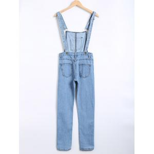 Ripped Applique Denim Overall Pants -