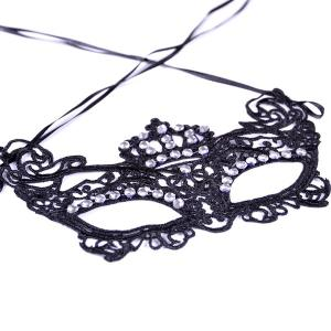 Gothic Style Rhinestone Crown Lace Party Mask -