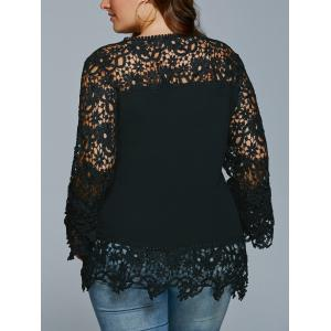 Lace Spliced Hollow Out Plus Size Blouse -