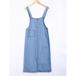 Pocket Design Topstitching Overall Dress -
