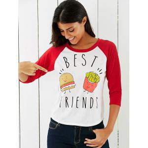 Cartoon Pattern High Low T-Shirt -