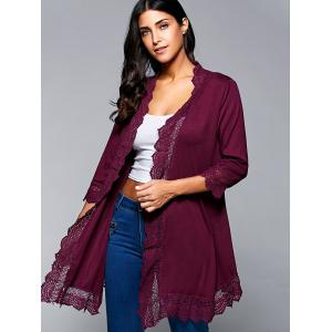 Lace Spliced Asymmetric Cardigan - WINE RED L