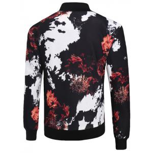 3D Floral and Splash-Ink Print Stand Collar Zip-Up Jacket -